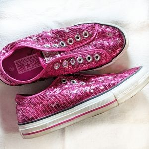 Converse One Star sequin slip on sneakers pink